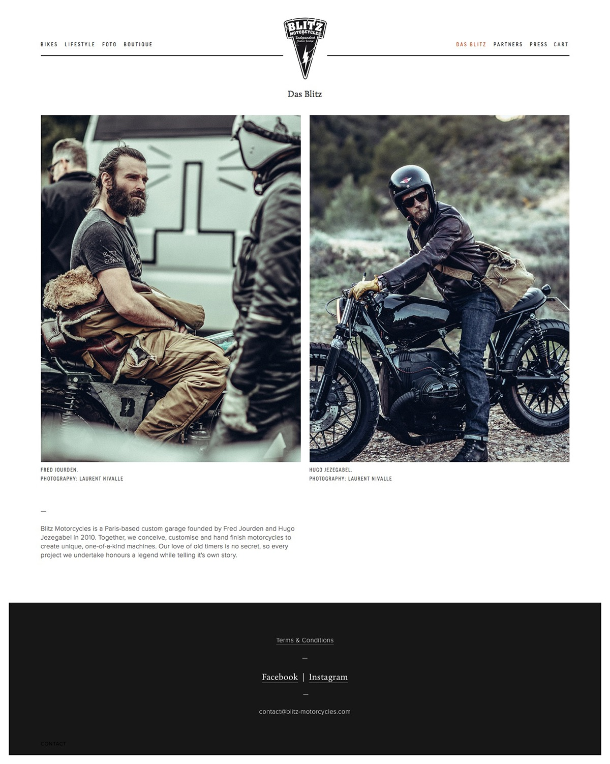 Blitz motorcycles squarespace Custom motorcycles craft grid boutique The Printer's Son