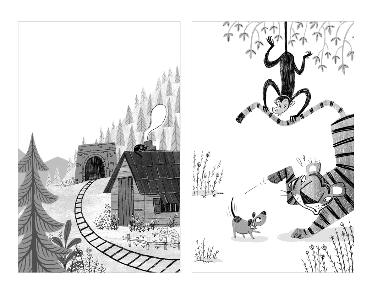 Book cover illustrations for a series of ruskin bond books published by penguin india these chapter books also had black and white interior illustrations