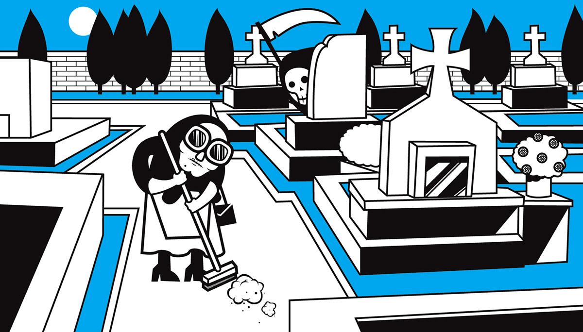 Character design  ILLUSTRATION  granny muerta death Lifo greek Character