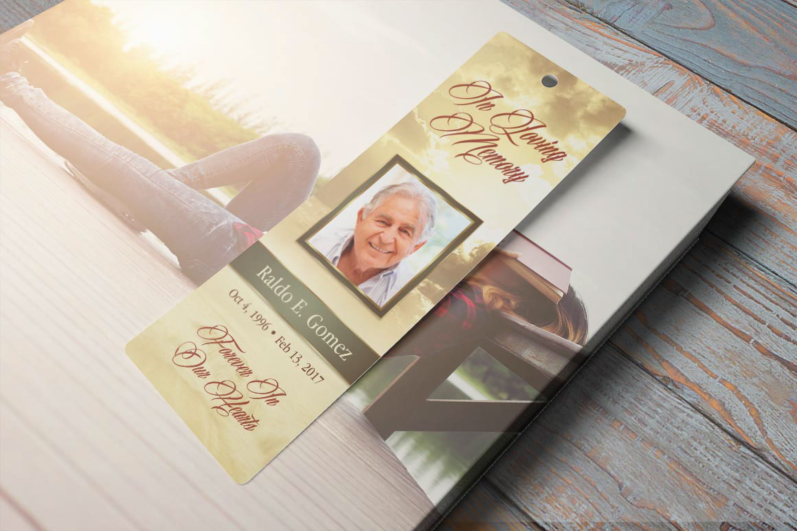 Forever Funeral Bookmark Template Is Designed For Memorial Or Services The Sunrise Background With Beautiful Typography Makes This A Great Keepsake