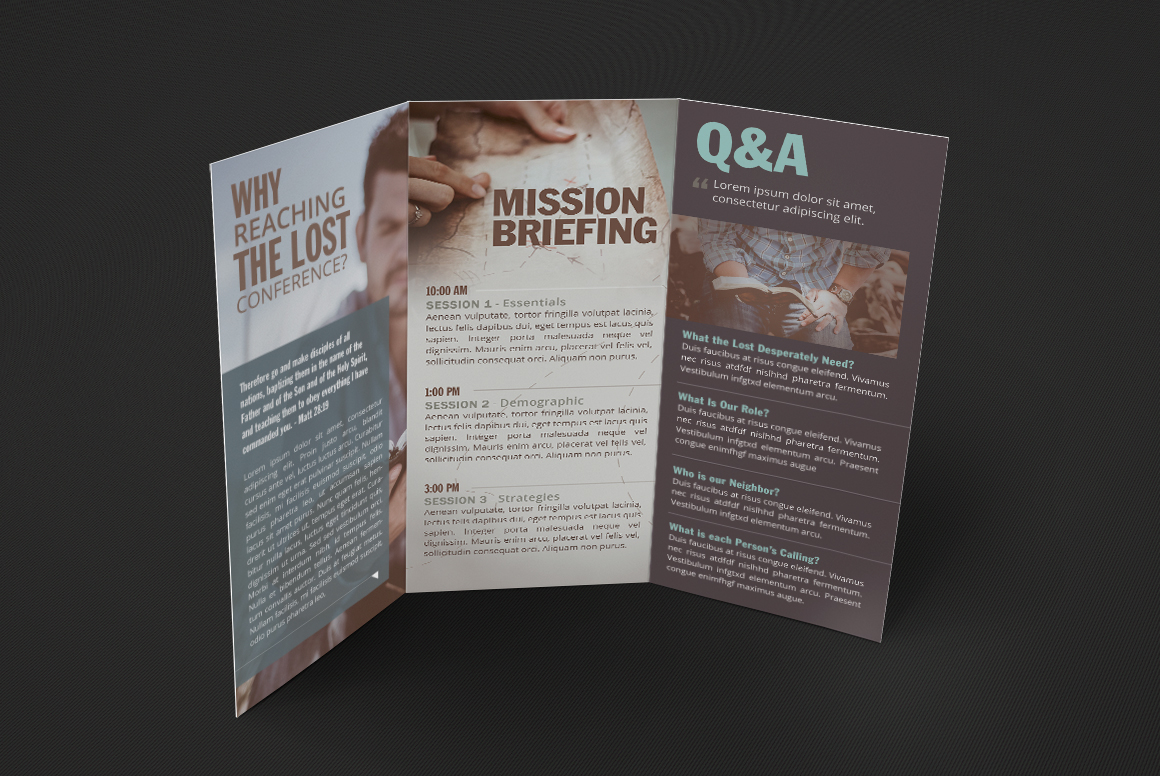 Missions Conference TriFold Brochure Template on Behance – Conference Brochure Template