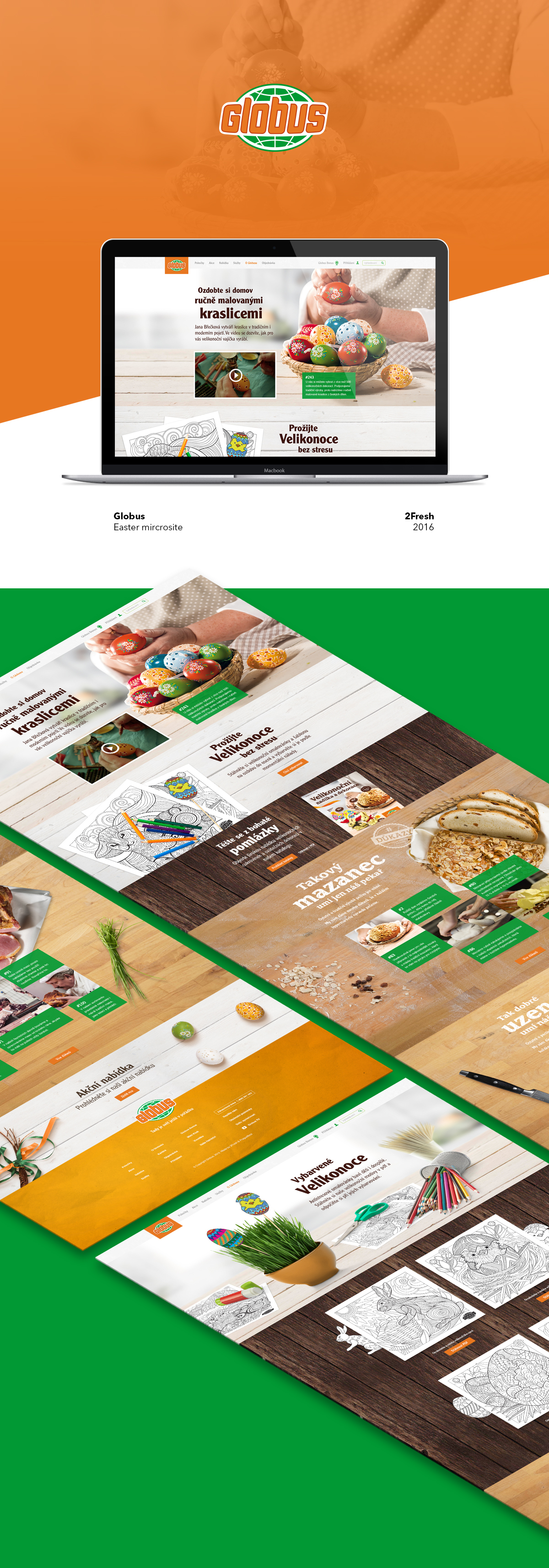 Easter Globus eggs coloring antistress wood bunny cake Smoked meat market Czech shop Web design