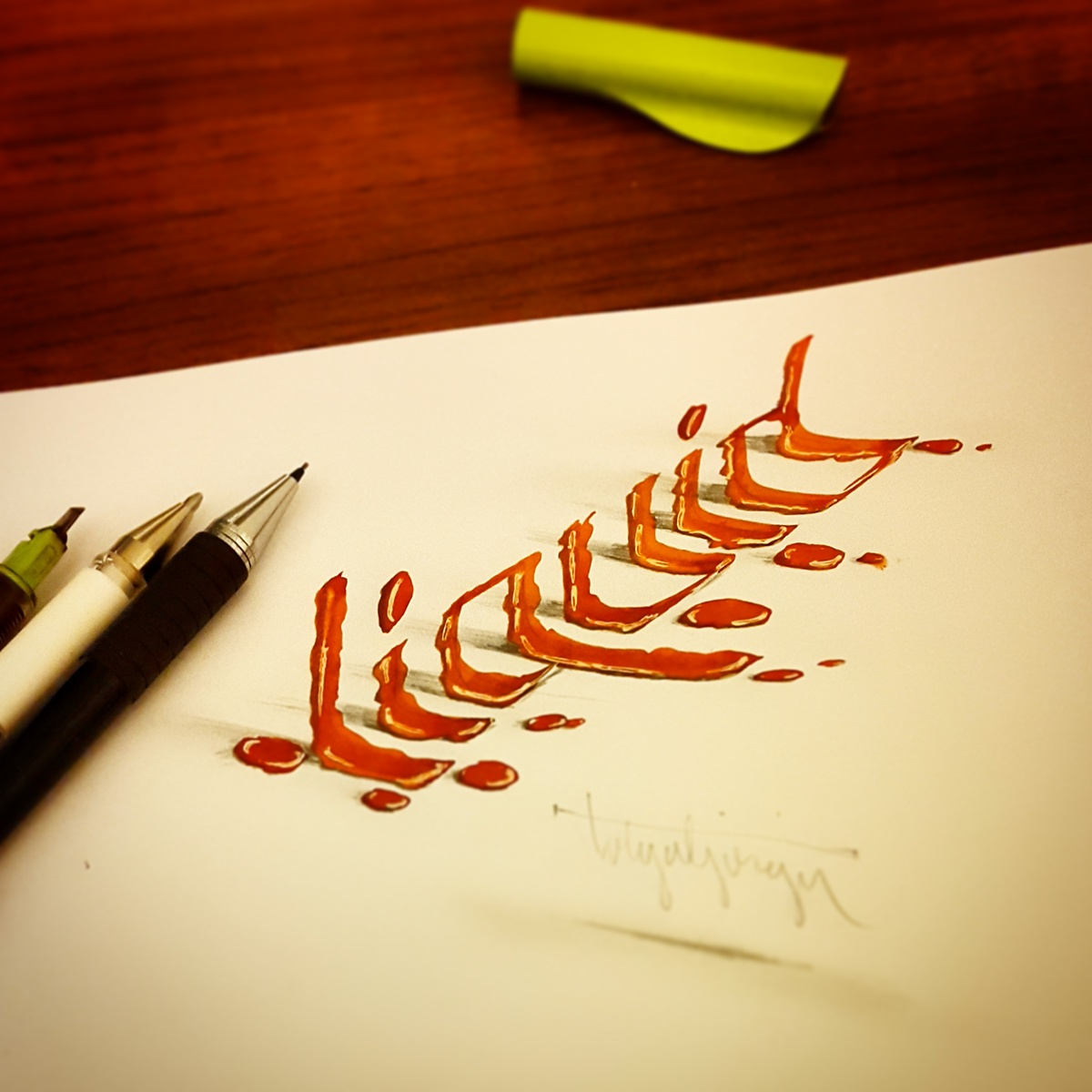 how to write calligraphy letters with a pencil