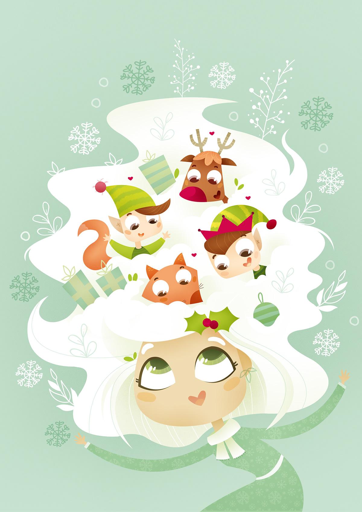 infantil christma elfo nieve