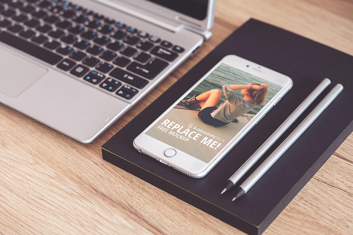 Free Mockup IPhone 6 Plus On Desk PSD Smart Object Behance