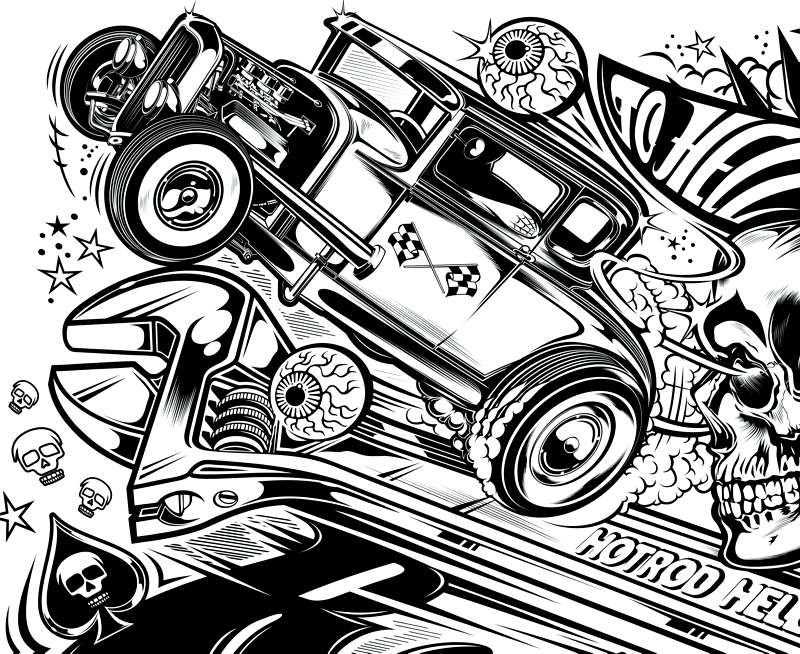 Hotrod hellcat designs uk on behance for Hellcat coloring pages