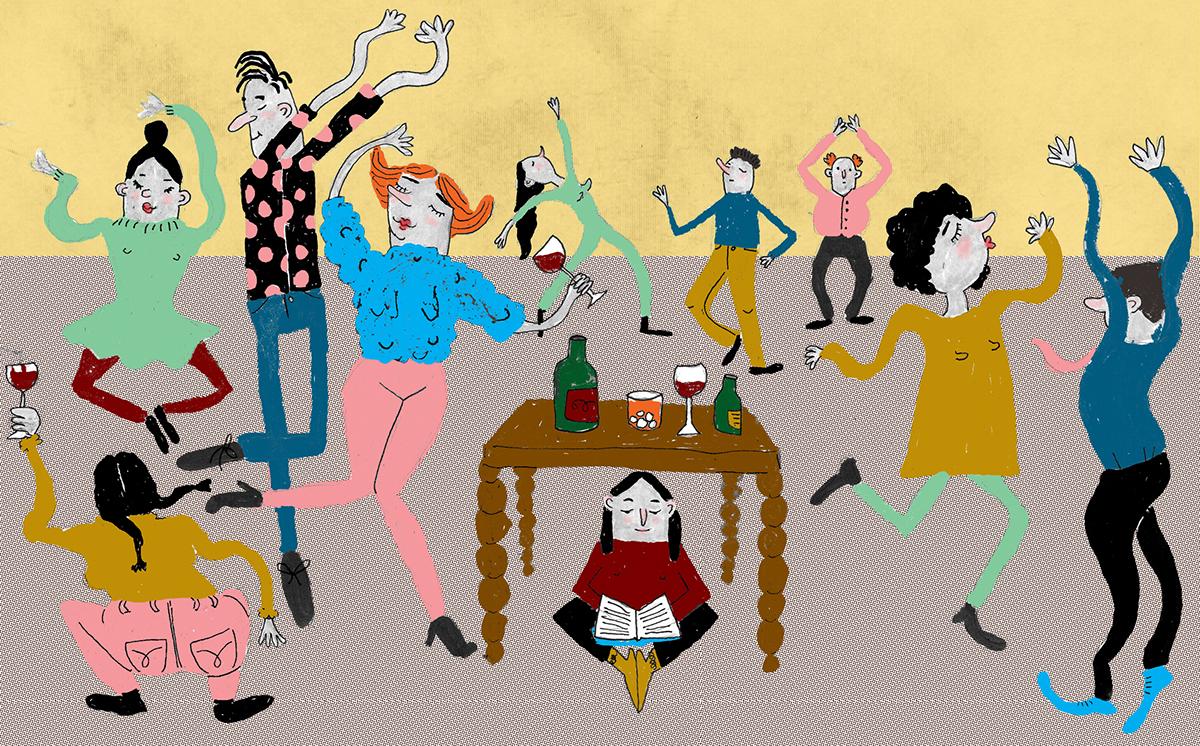 Adobe Portfolio ILLUSTRATION  art magazine editorial design dancing Introvert Extrovert ambivert