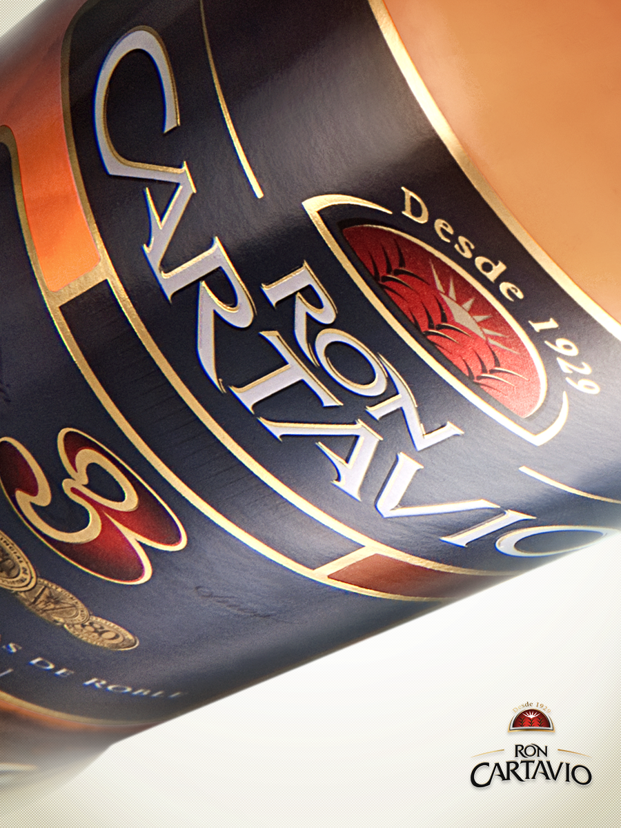 ron cartavio bottle design rebranding labels gold foil piero salardi logotype redesign packaging design