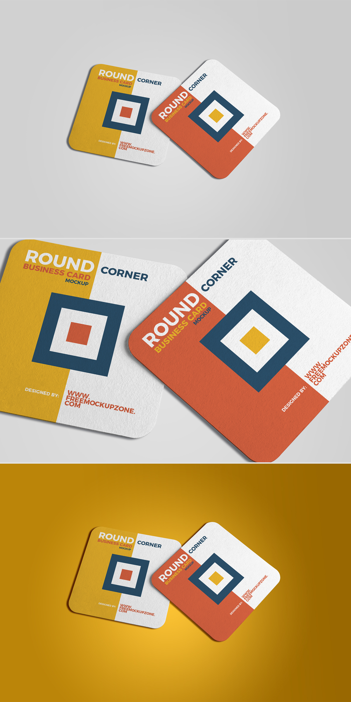 Free square round corner business card mockup 2018 on behance reheart Image collections
