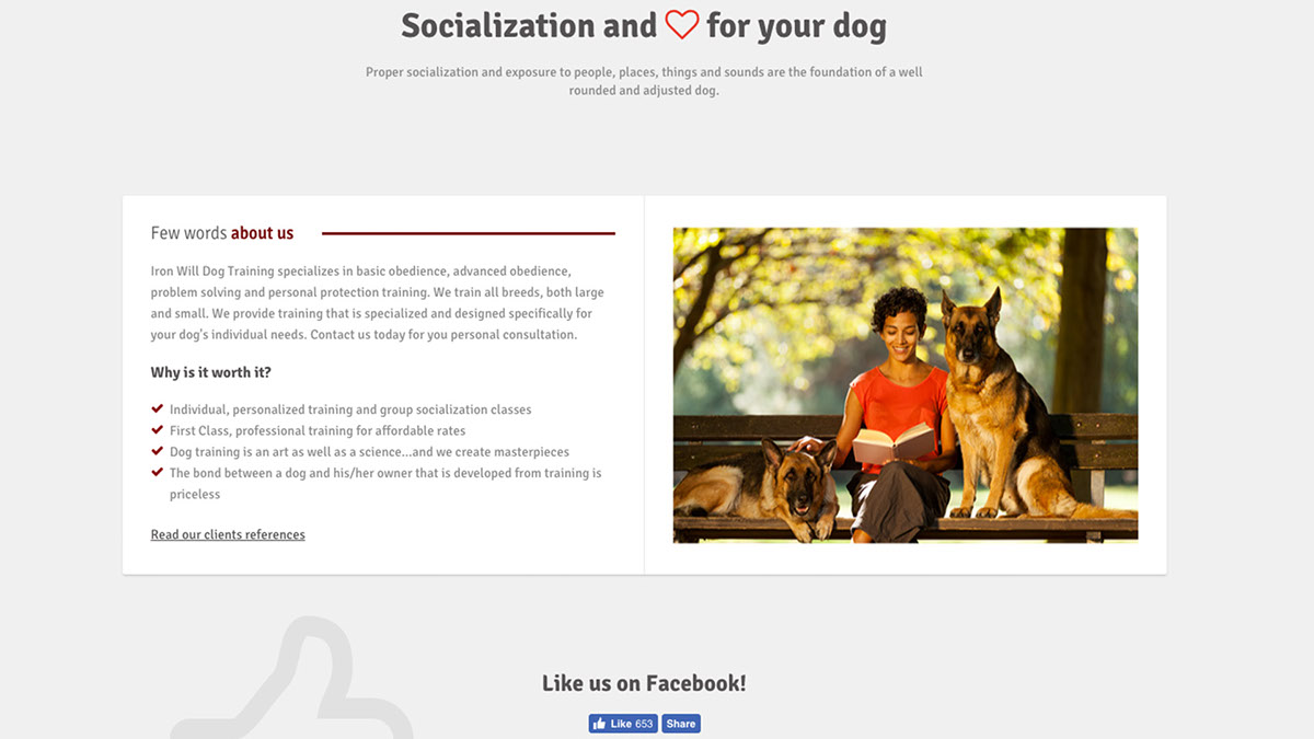 Iron Will Dog Training Website & Development on Behance