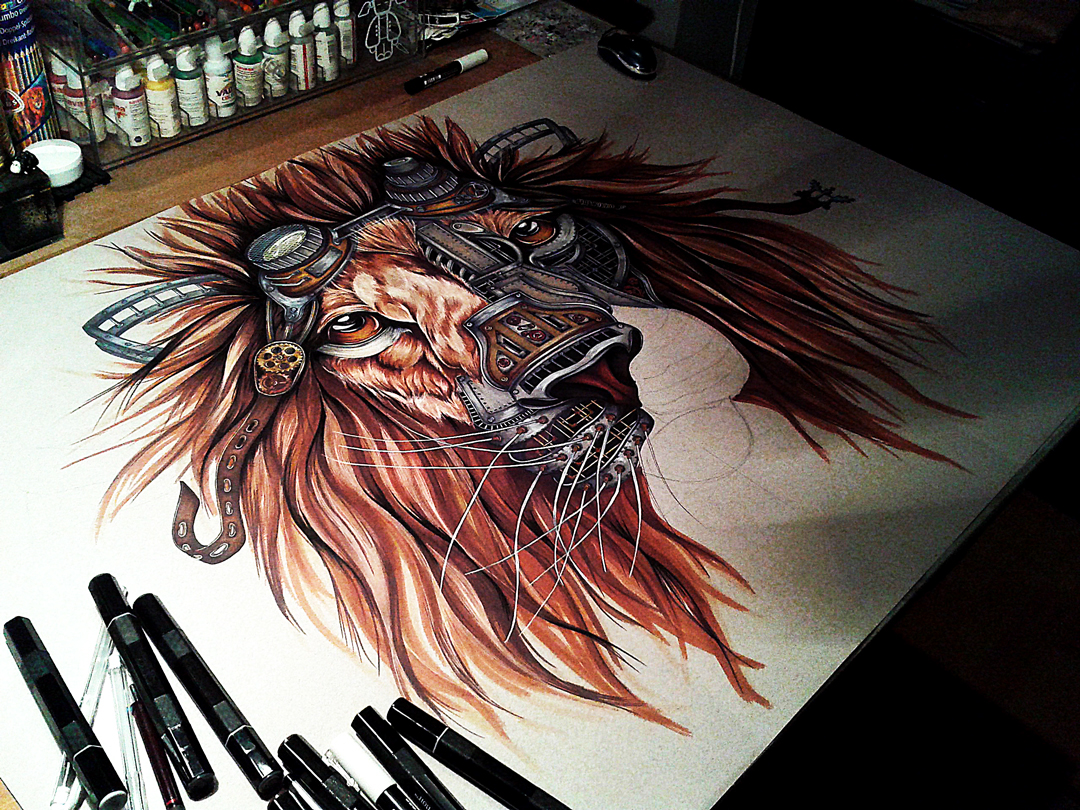 lion wildlife gears animal Nature jungle king portrait pipes vintage industrial machinery fiction Steam STEAMPUNK