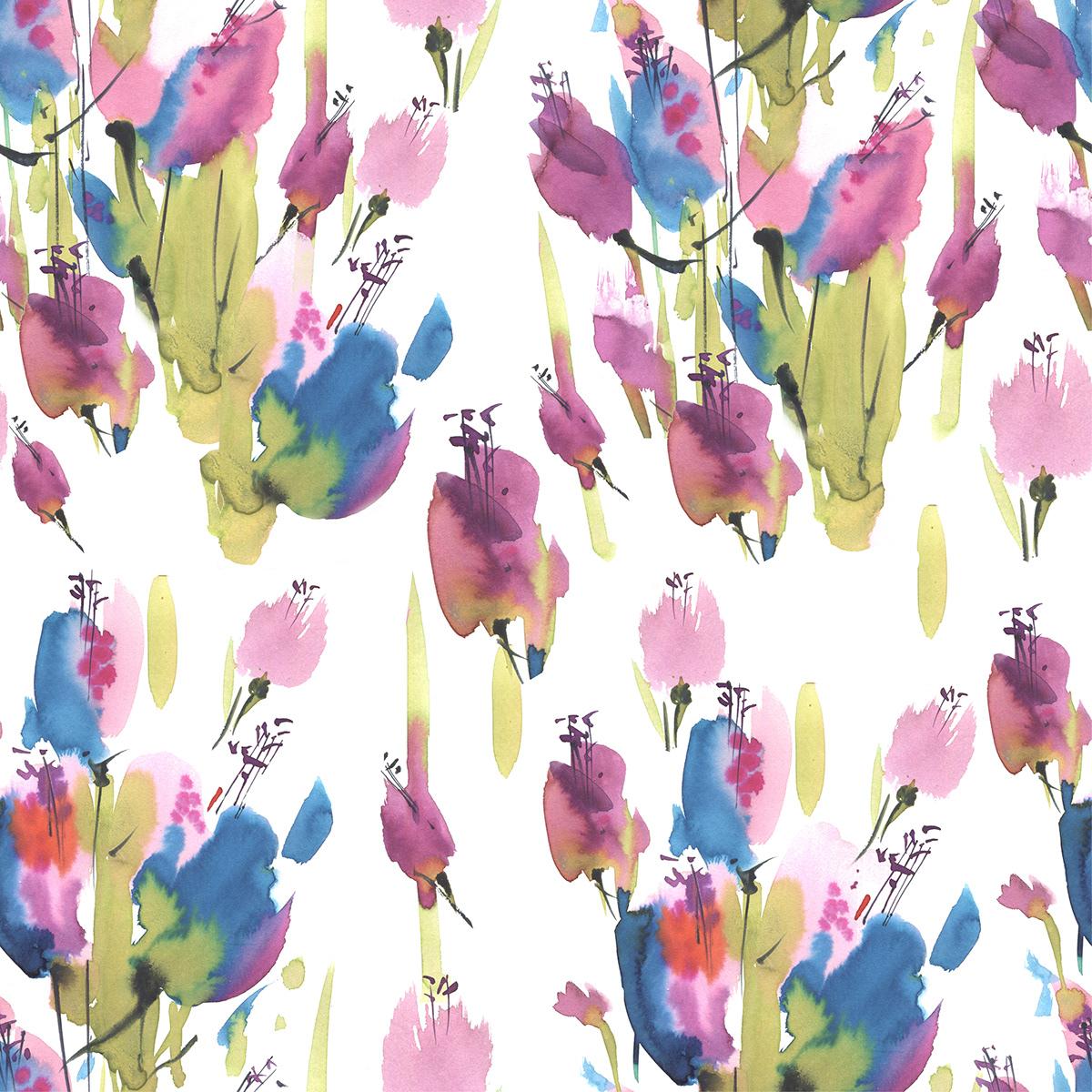 artist botanic Flowers graphic art Illustrator pattern plants watercolor