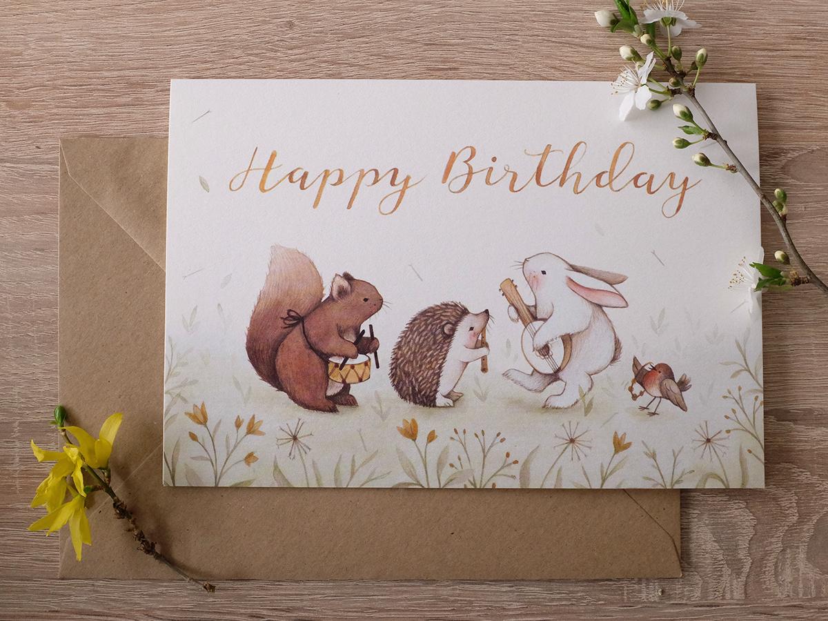 Woodland Band Birthday Greeting Card On Behance