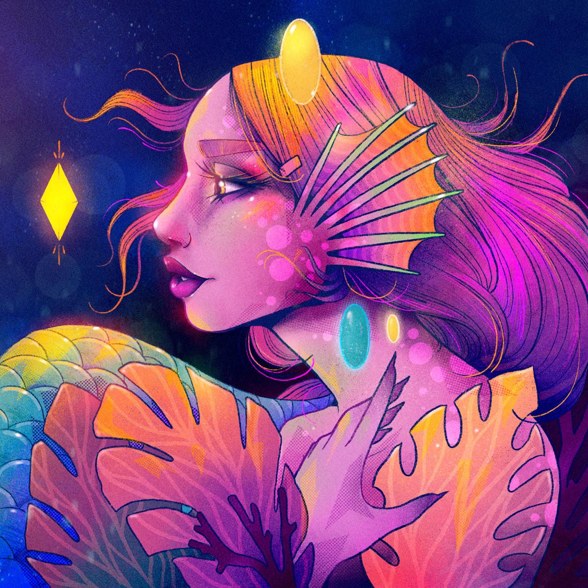 Procreate woman mermaid rose color process tattoo