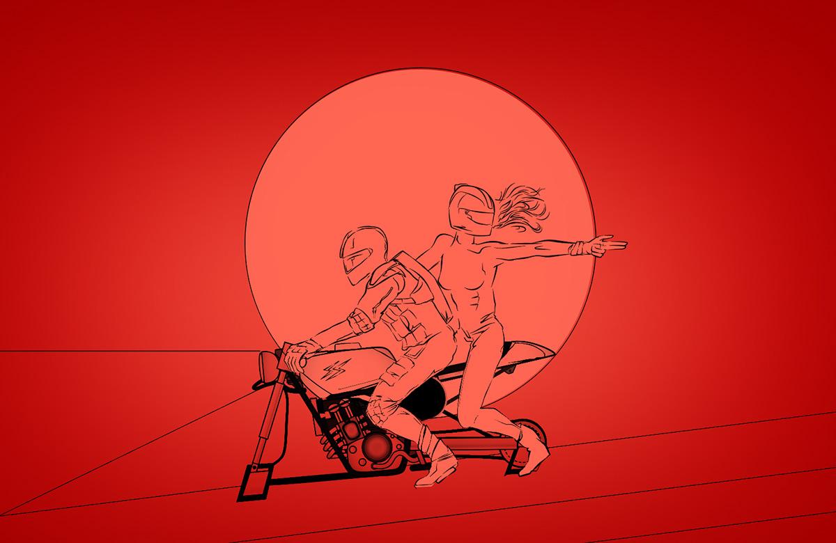 bonnie and clyde ILLUSTRATION  franko schiermeyer art Scifi Bike modern couple Love Free font