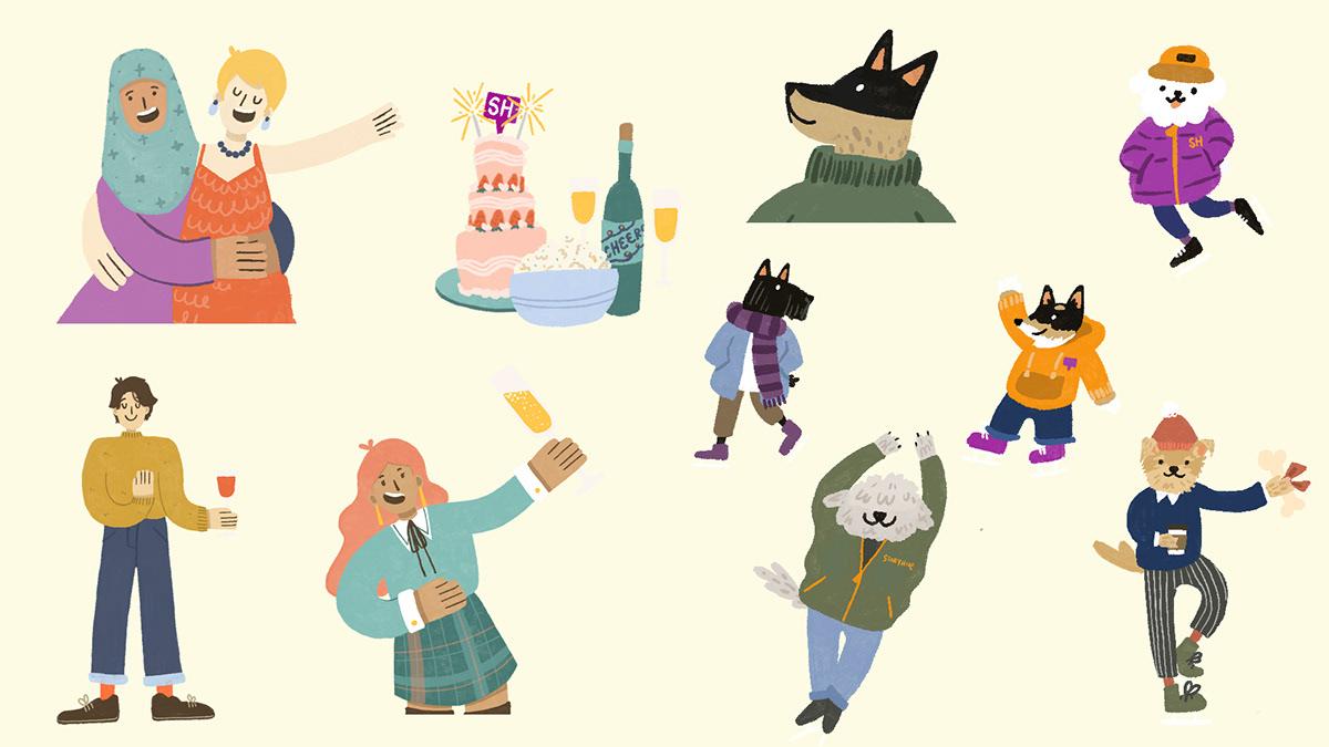 graphic design  ILLUSTRATION  portrait art vancouver illustrator celebration cheer Digital Art  Fun joyous party