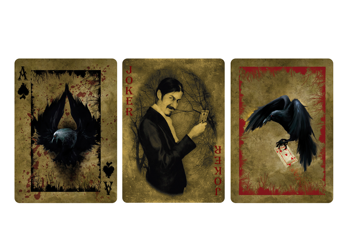 haunted Playing Cards digital illustration crow Spooky game Bicycle