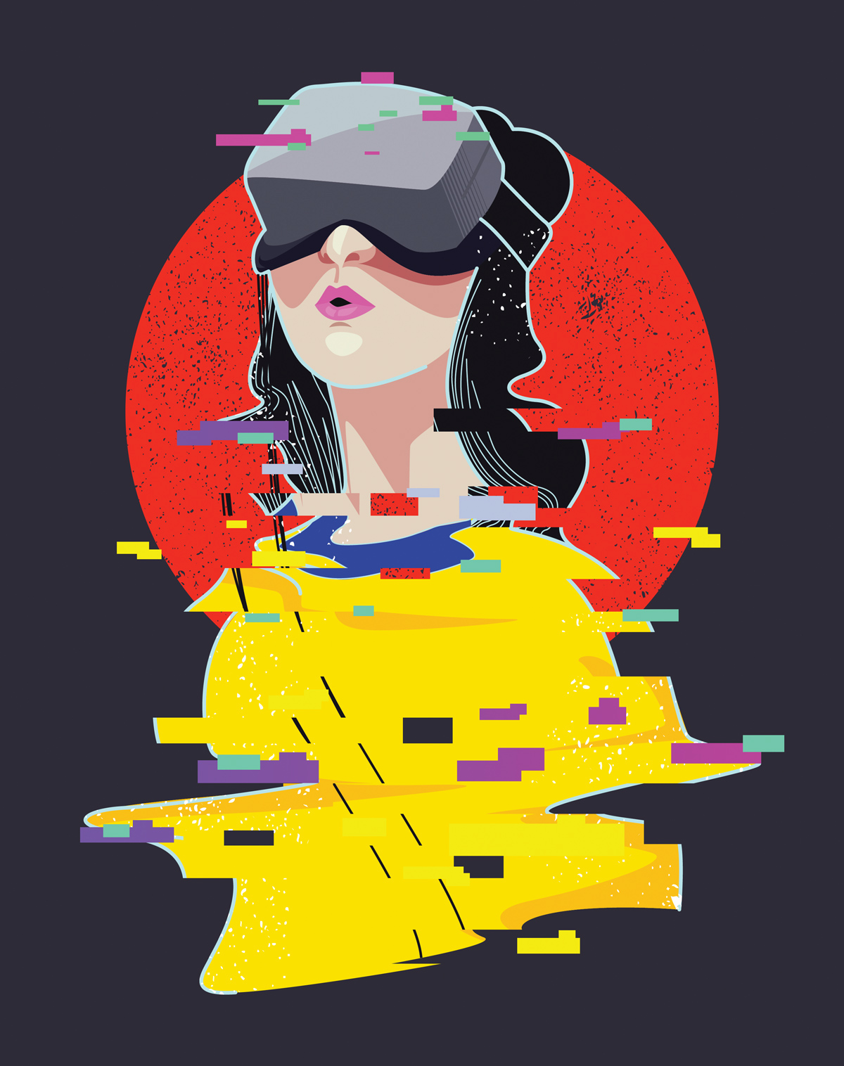 an image of a white woman with black hair wearing a VR headset