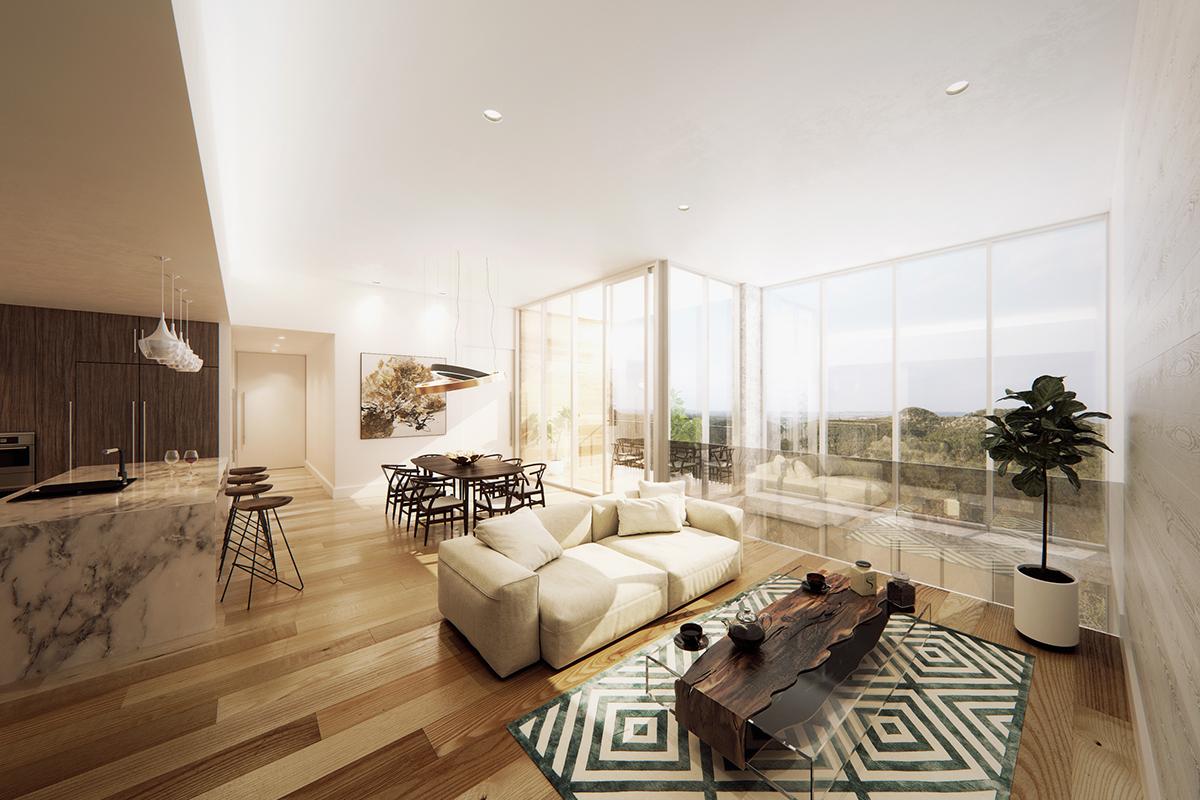 Spacious living room on Behance