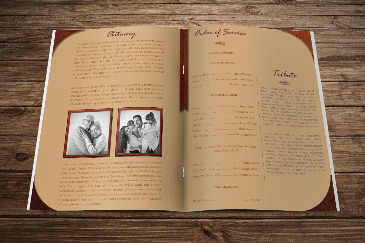Leather Funeral Program Publisher Template on Behance