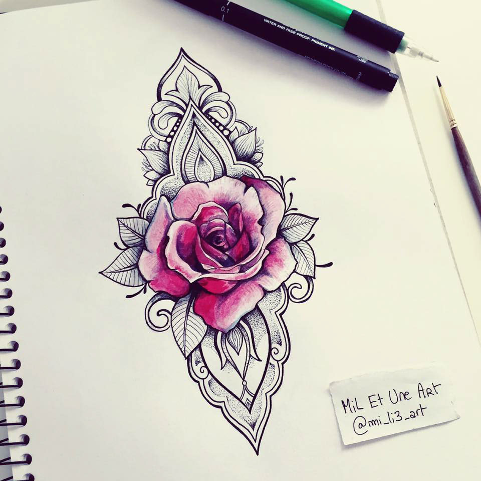 watercolour rose ornamental tattoo on behance. Black Bedroom Furniture Sets. Home Design Ideas