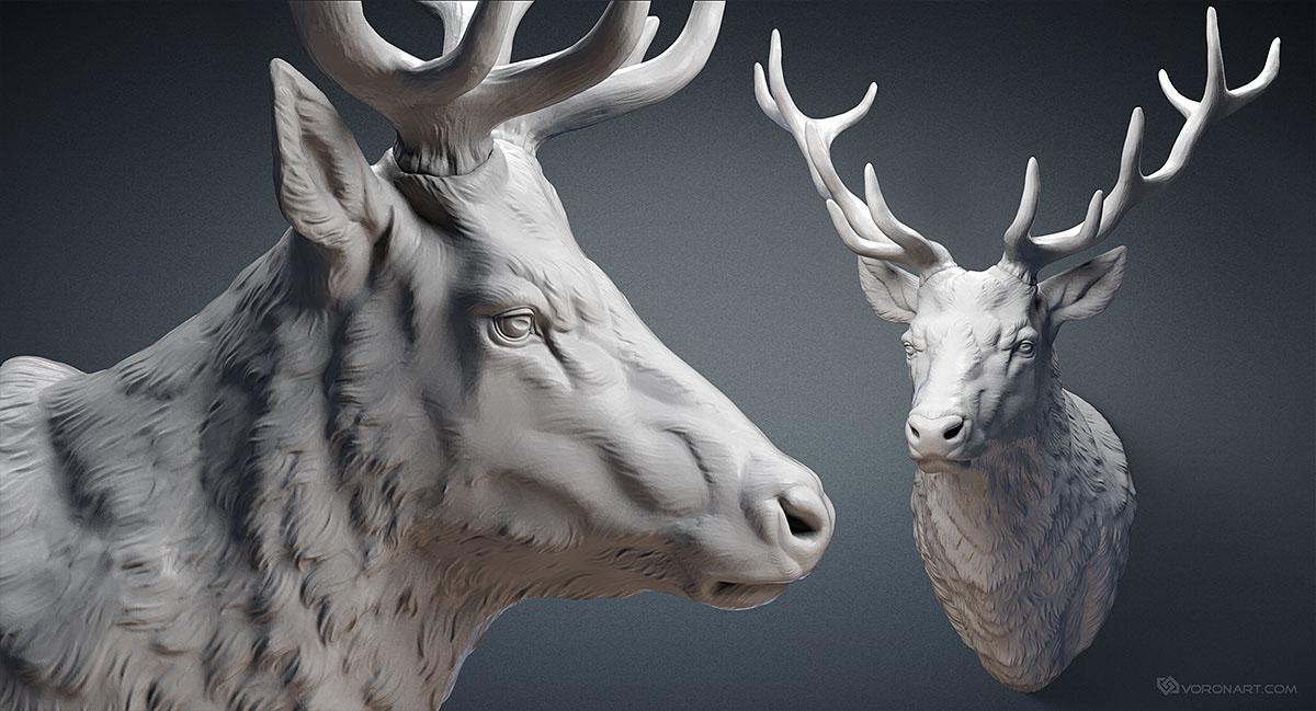 Deer head sculpture 3d model. STL, OBJ on Behance