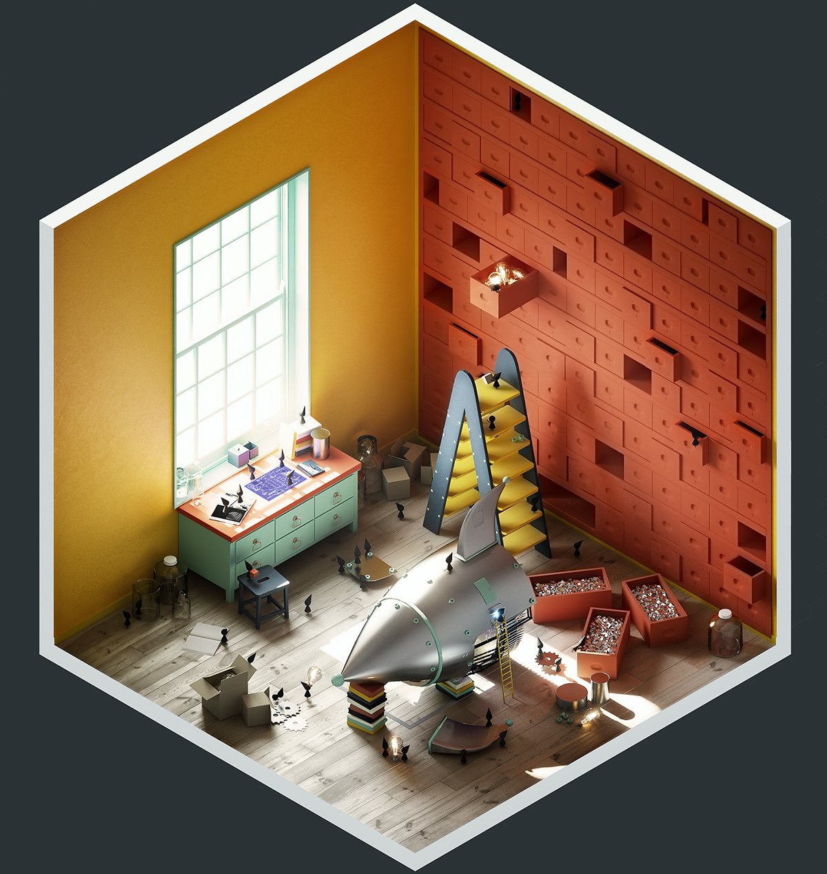 4 rooms on behance for 3d bedroom drawing