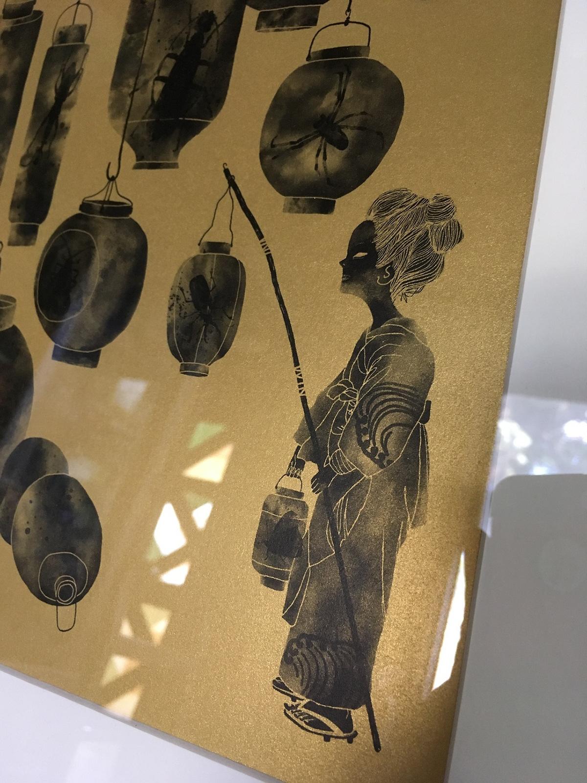 lantern japanese bugs print ILLUSTRATION  fedrigoni HPIndigo