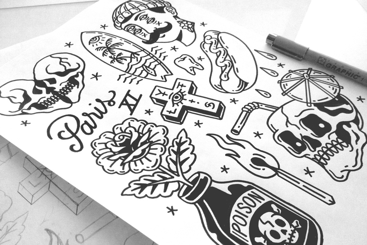 tattoo t-shirt pins micron Flash apparel screenprint poison Sushi hotdog