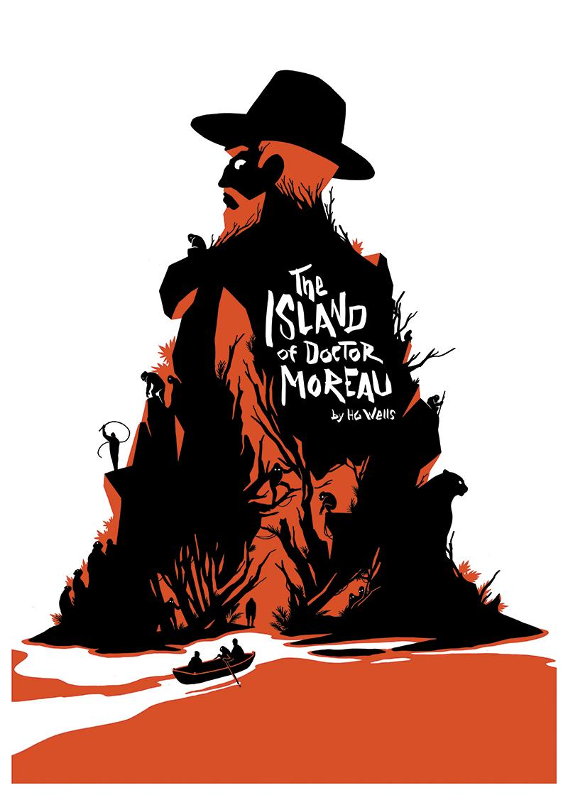 screen printing epic art prints science fiction HG Wells dark poster doctor moreau novel