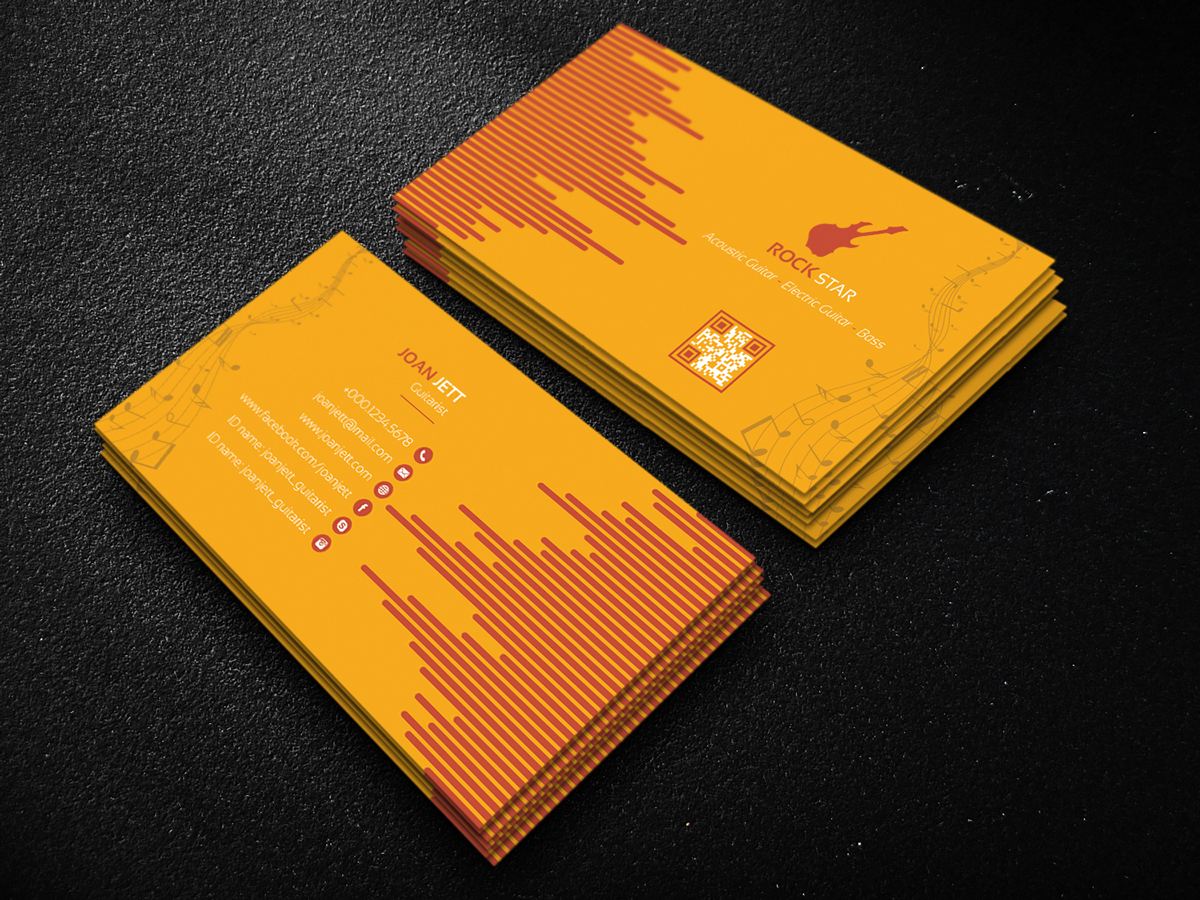 Guitar musician business card on behance download here reheart Choice Image