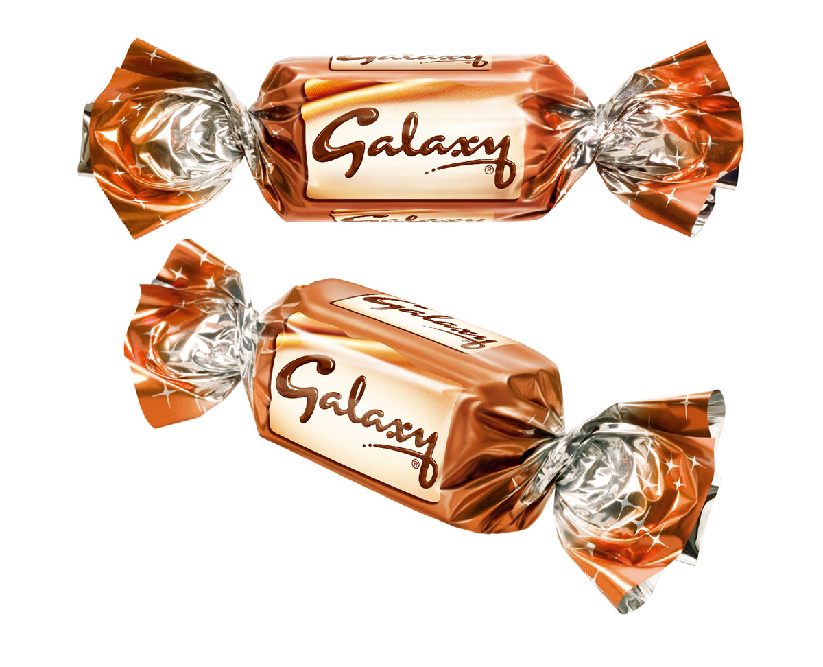 Photo realistic illustrations of Celebrations Galaxy miniture chocolates for product packaging