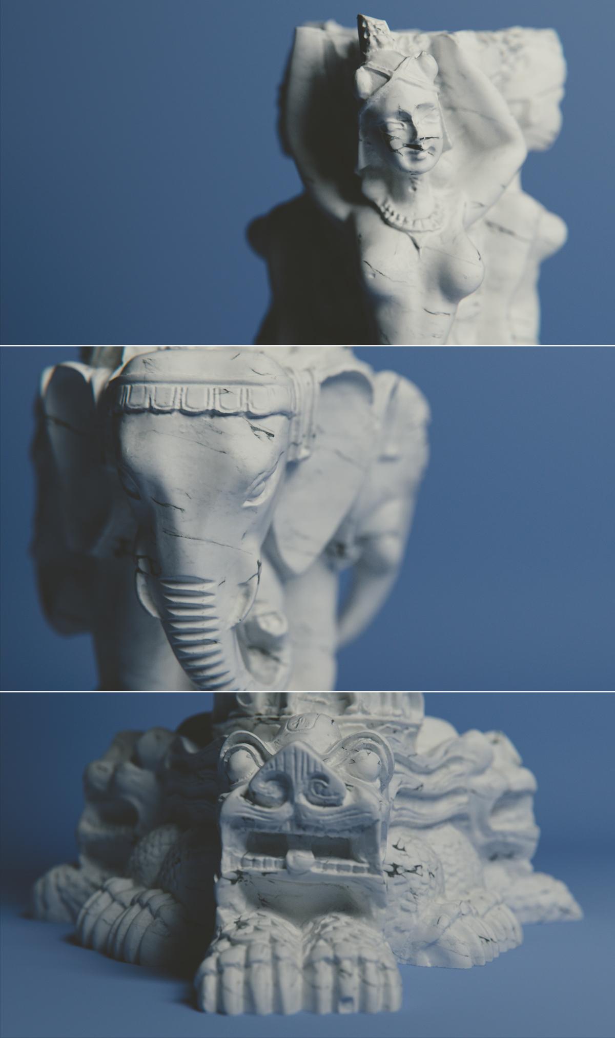 blue,dof,Render,studio,3D,blender,cycles,detail,Marble,Realism,shader,statue