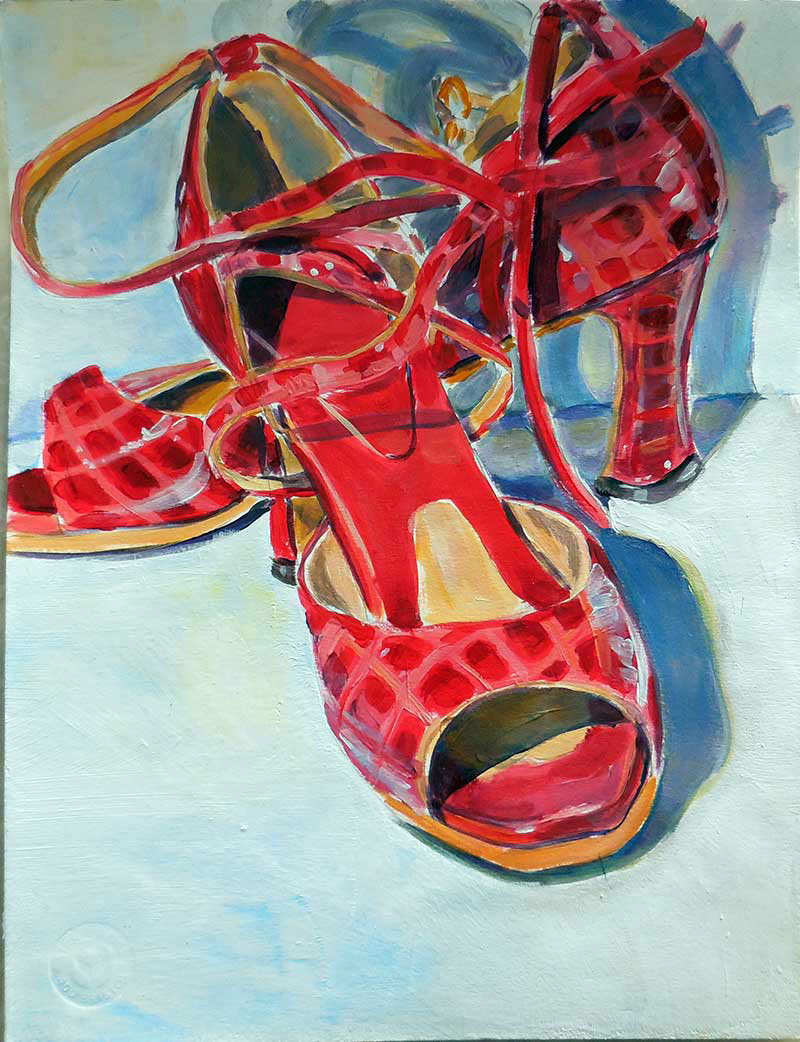 Salsa Shoes, Acrylic on watercolor paper by Zoe Zuniga