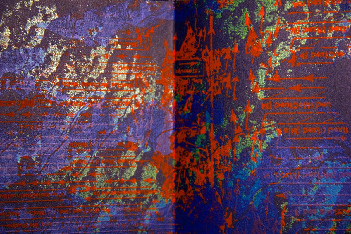 books chaos print accordion