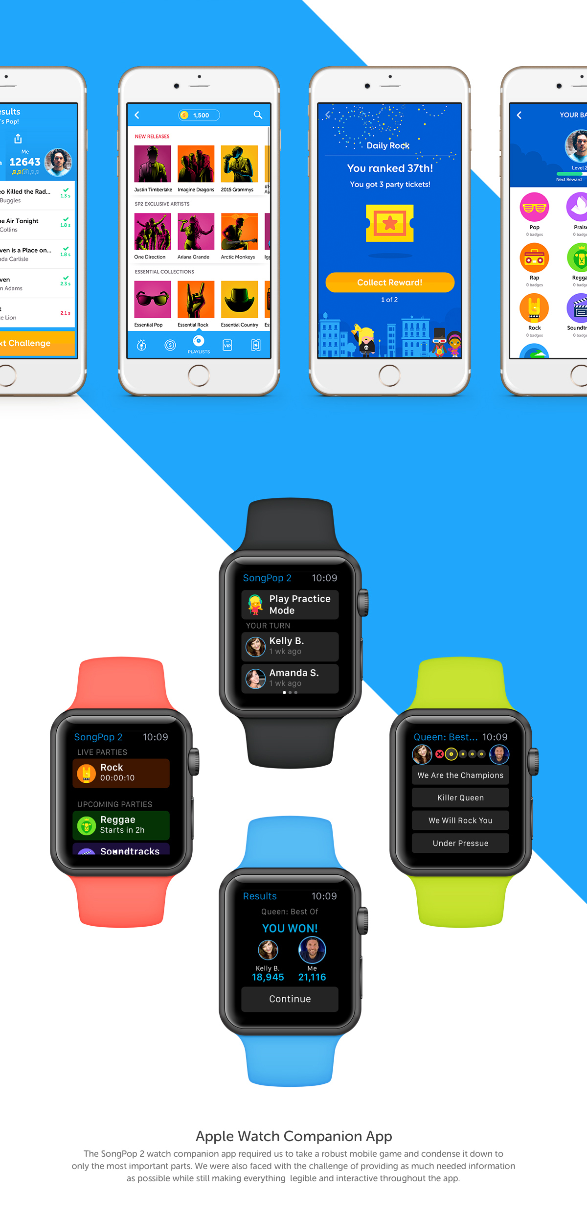 Mobile app songpop 2 mobile game ui design UI/UX visual design interaction