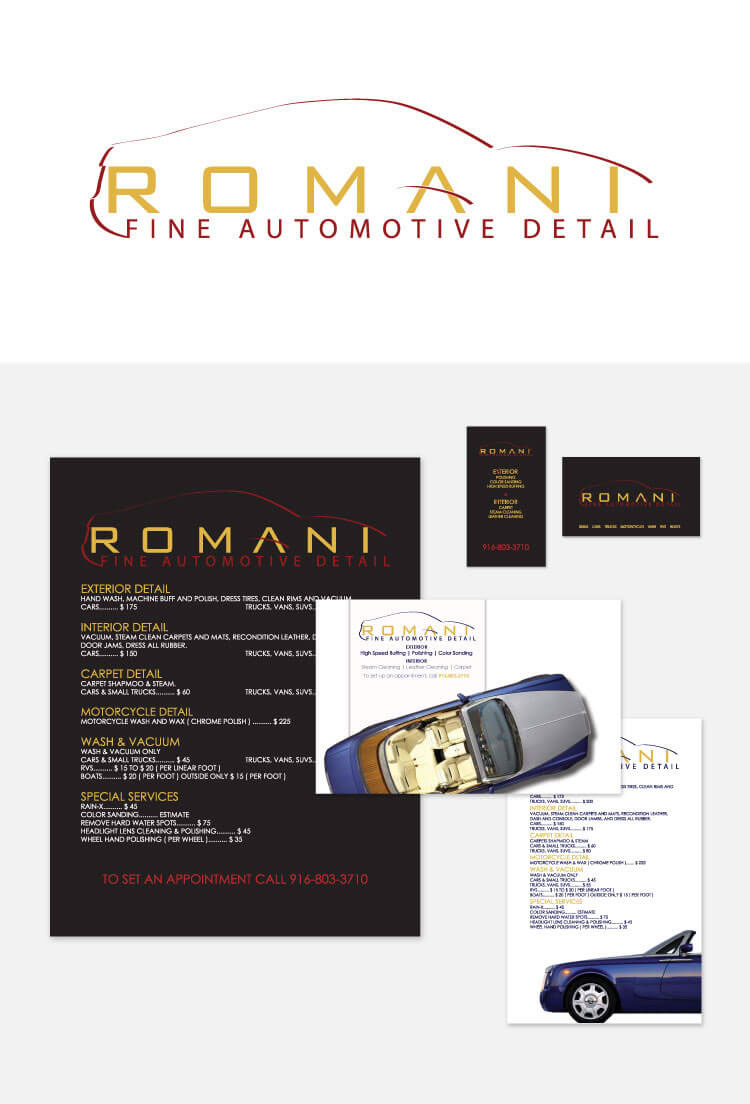 Romani Fine Auto Detail Logo Marketing Material On Behance