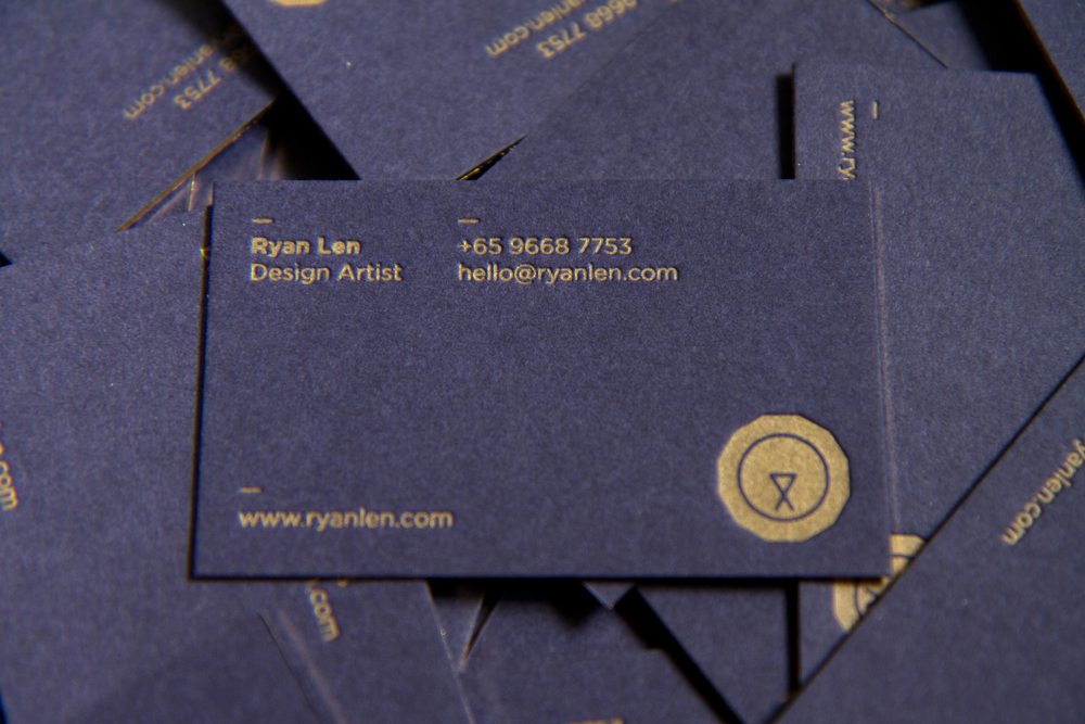 Personal business card on behance ryans personal business cards were printed using gold ink letterpress on 600gsm cotton paper with gold leaf gliding colourmoves