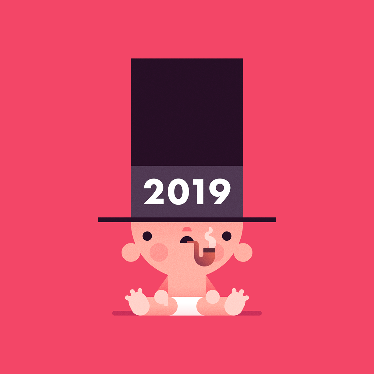 new year,happy new year,twothousandnineteen,baby,Pipe,smokin,diaper,ILLUSTRATION ,holidays