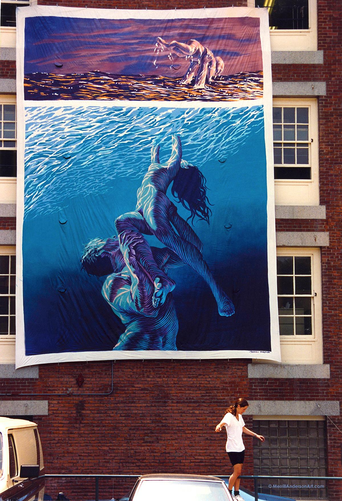Adobe Portfolio large scale paintings swimming tropics