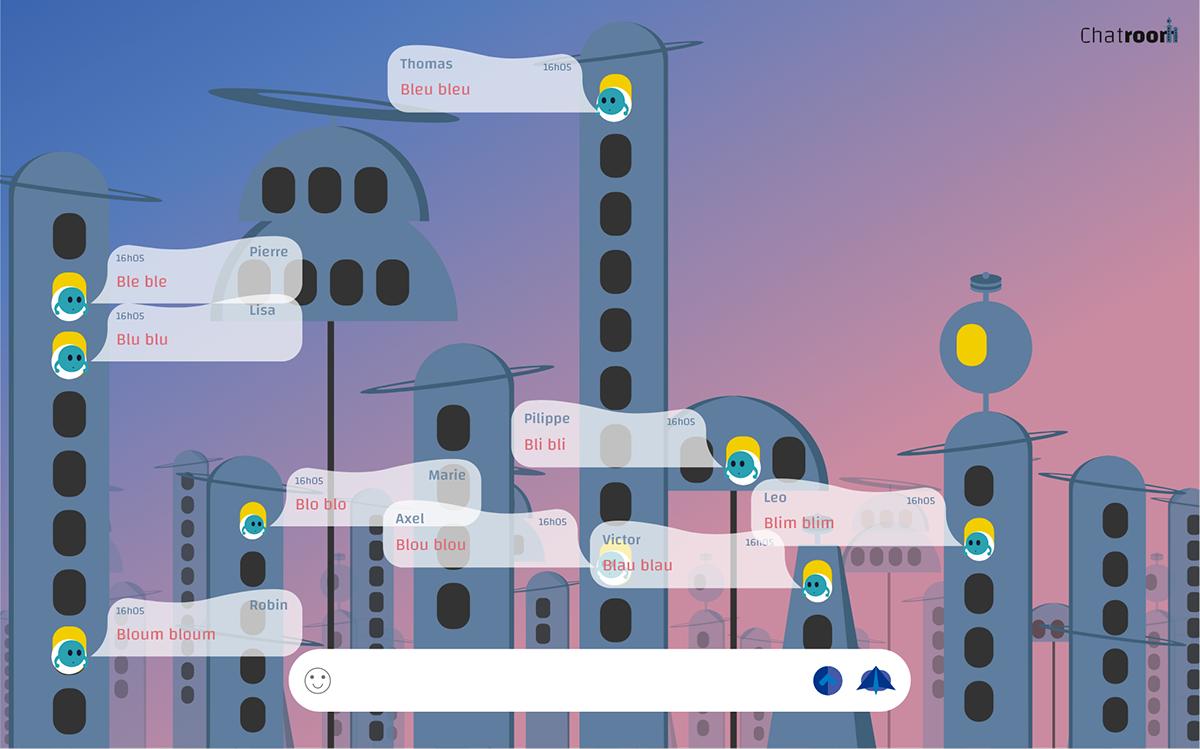chatroom design dev graphic ILLUSTRATION  interactivity UI ux