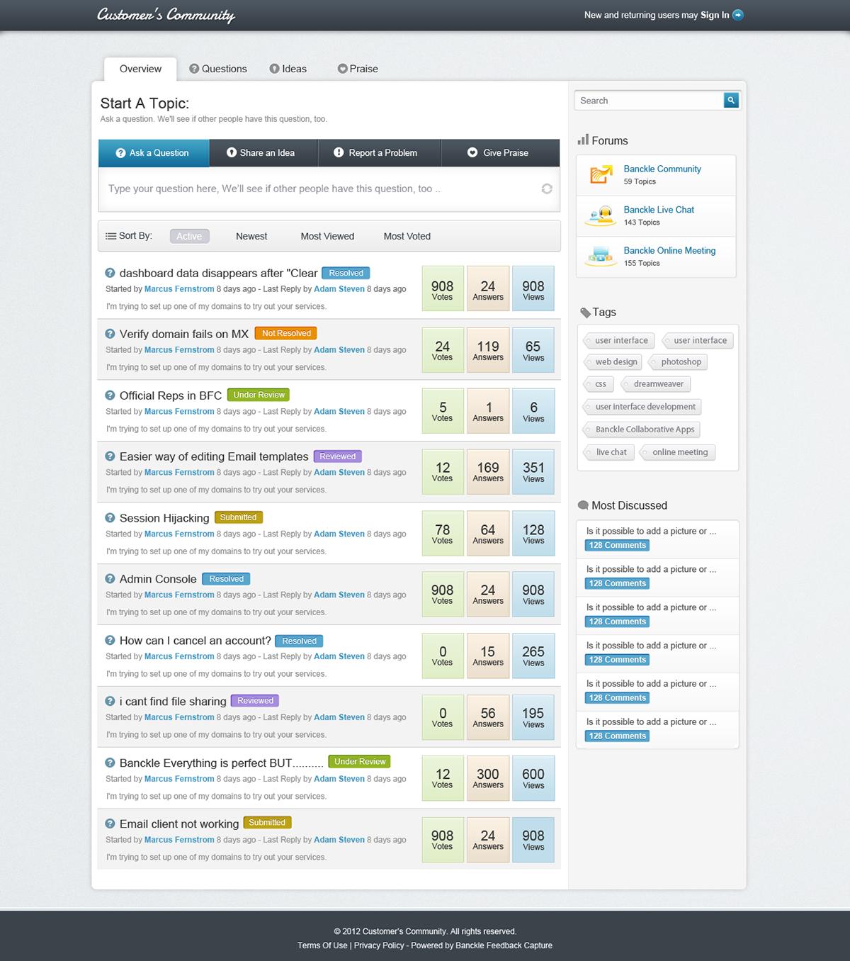Feedback Community - Web app screens