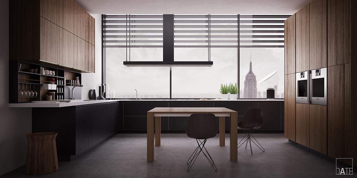 Poliform Kitchen Design.  Poliform Varenna Twelve Kitchen Black mat and Elm on Behance