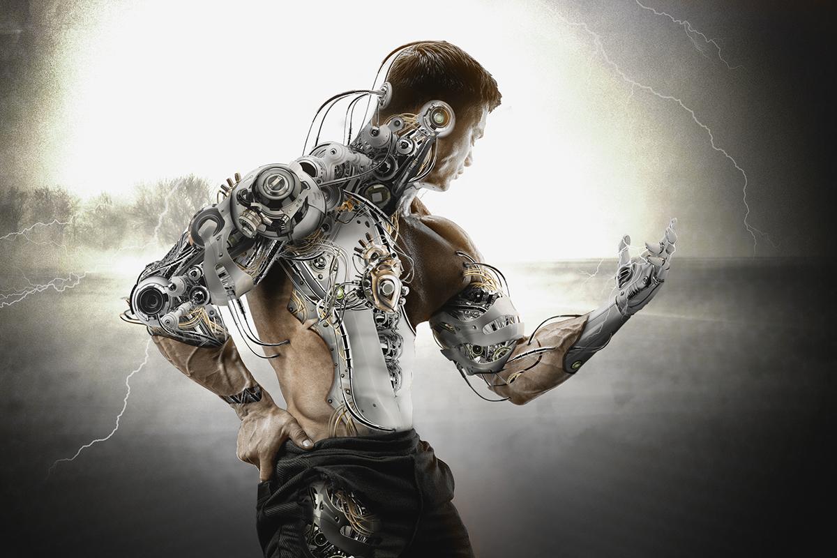 Cyborg model metal art compositing lightning creative