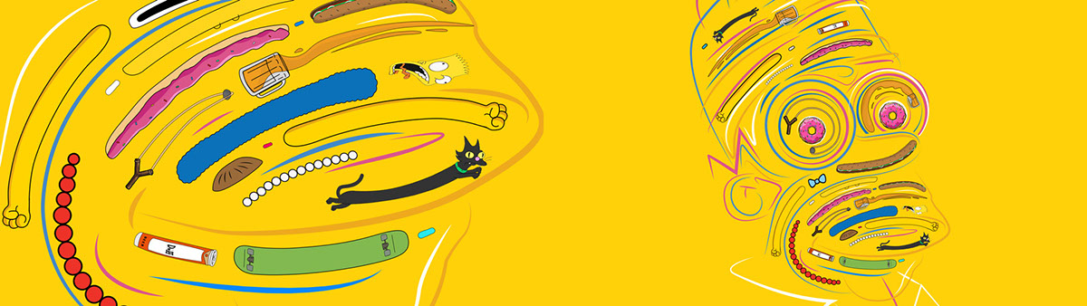 the simpsons fx simpsons Bart Simpson homer simpson 2D 3D flat vector art design cel Cel Animation