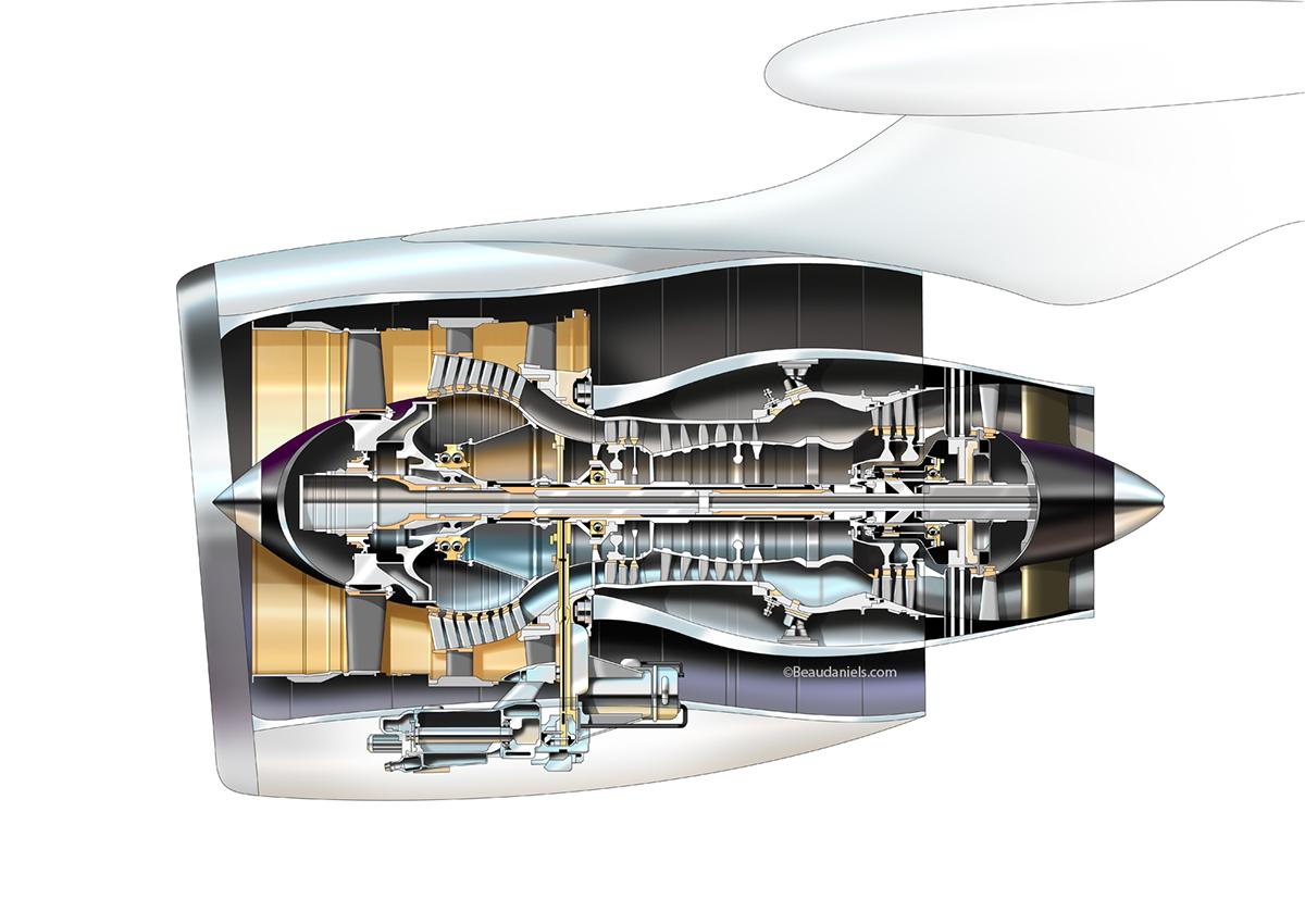 Aviation technical cutaway illustrations. on Behance