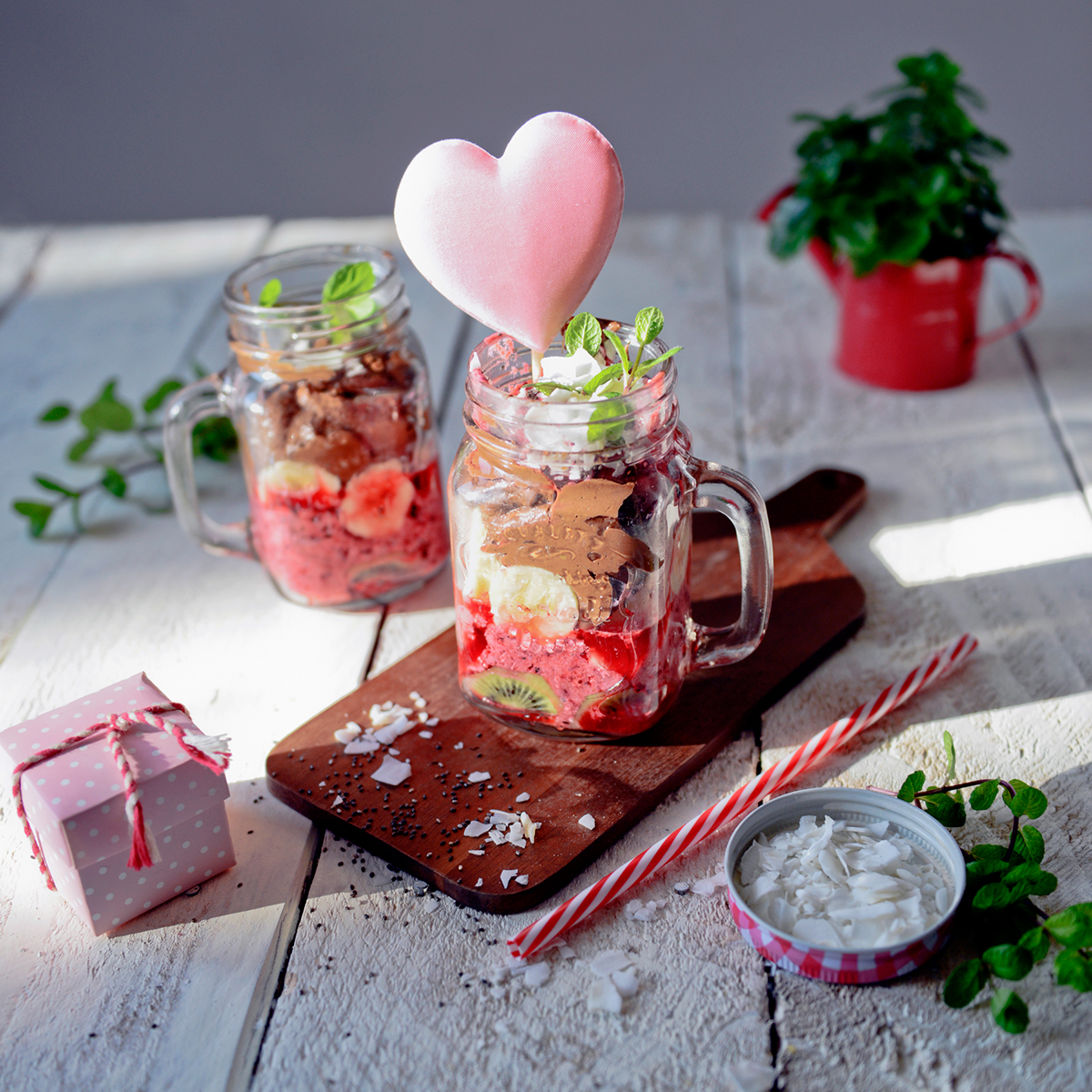 Valentine's Day valentine heart Love dessert strawberry avocado mint sweet treats Culinary food design