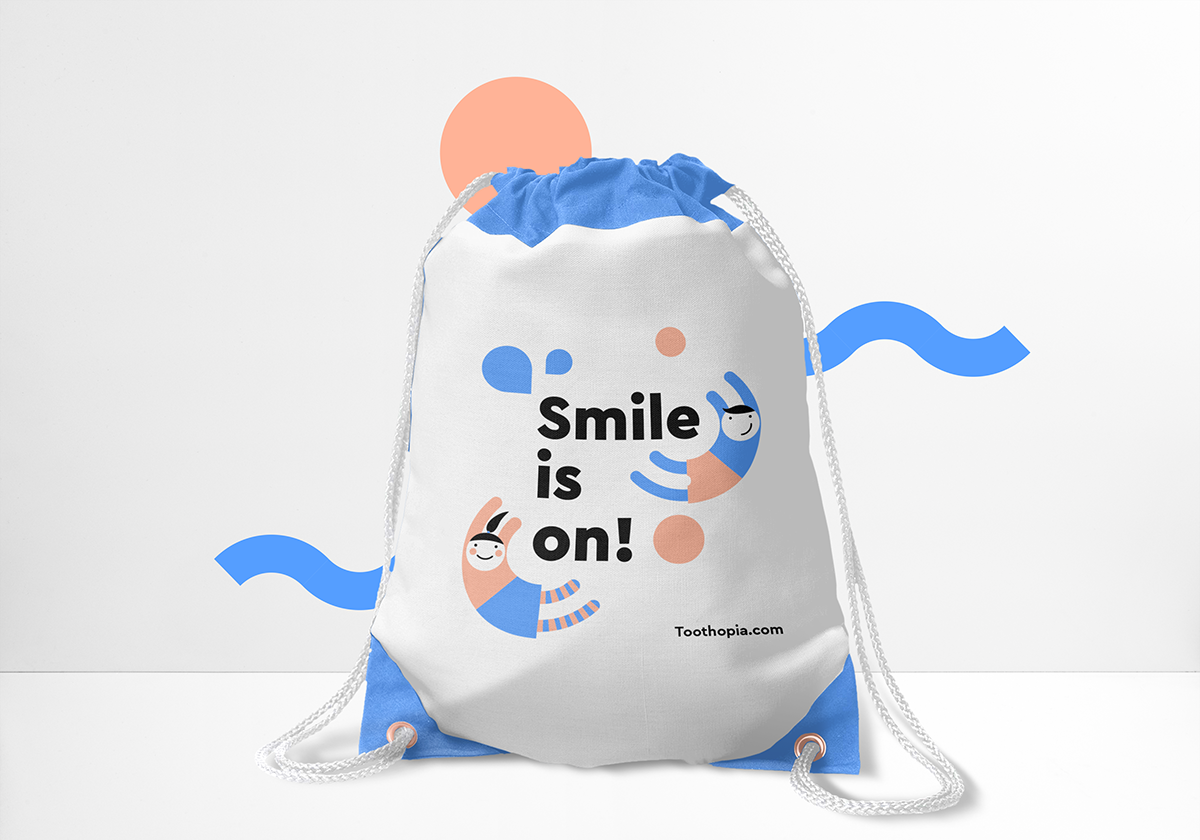 brand kids logo happy smile minimal