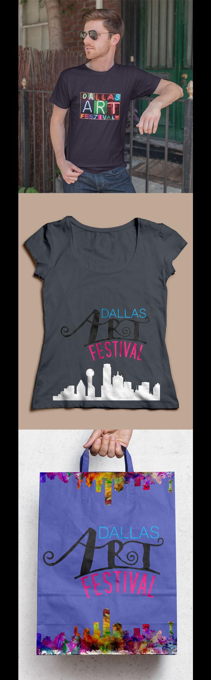 art festival apparel shirts bag logo