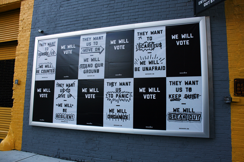 campaign identity Outdoor app aggresive optimistic hand-drawn minimal cool Youthful voting cutting-edge Innovative black BrooklynCreates